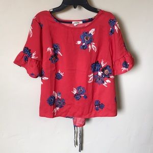 NEW✨Maurices Summer Blouse Tie Back Pink Floral
